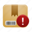 box, delivery, package, parcel, shipping, warning icon