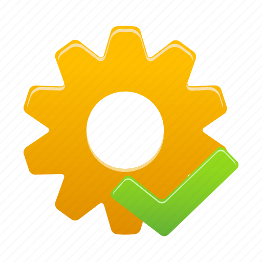 accept, check, gear, process, setting, settings, success icon