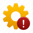 alert, attention, gear, process, setting, warning icon