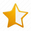 bookmark, favorite, full, half, like, rating, star icon