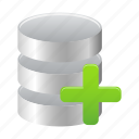 add, data, database, new, storage, to icon