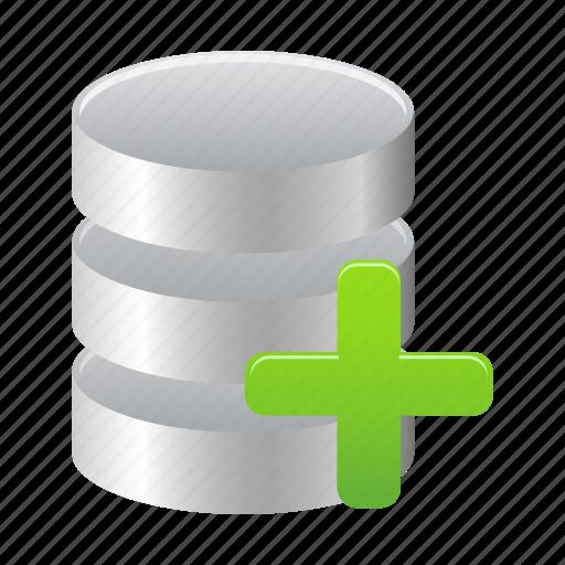 add, data, database, new, storage, to icon