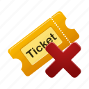 delete, film, movie, remove, ticket icon