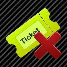 delete, film, movie, remove, ticket icon
