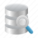 data, database, find, magnifier, search, storage, view icon