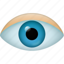 eye, find, magnifying glass, research, search, see, view, watch, zoom icon