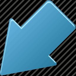 arrow, down, down-left, downleft, left icon