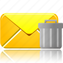 delete, email, envelope, letter, mail, trash icon