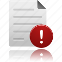 alert, attention, document, documents, file, files, paper, warning icon