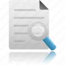 document, documents, file, find, magnifying, magnifying glass, paper, search, text, zoom icon