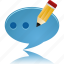 bubble, chat, comment, edit, message, pencil, talk, write icon