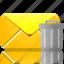delete, email, envelope, letter, mail, trash icon