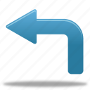 arrow, left, turn icon