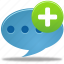 add, bubble, chat, comment, message, new, plus, talk icon