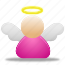 account, angel, female, people, profile, smiley, user, wing icon