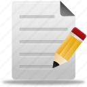 document, documents, edit, education, file, paper, school, text, write icon
