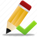 edit, pencil, validated, write icon