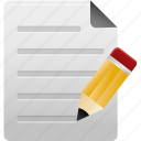 document, documents, edit, file, files, paper, pencil, text icon