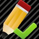 edit, pencil, validated, write icon