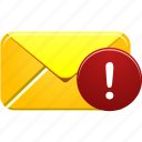alert, attention, email, error, letter, mail, warning icon