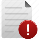 alert, attention, document, documents, file, paper, warning icon