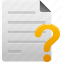 document, documents, faq, file, help, paper, question icon