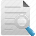 document, file, find, magnifying, magnifying glass, search, text icon