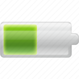 battery, cell, charge, charging, electric, electricity, energy, half icon