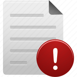 alert, attention, document, documents, file, paper, text, warning icon
