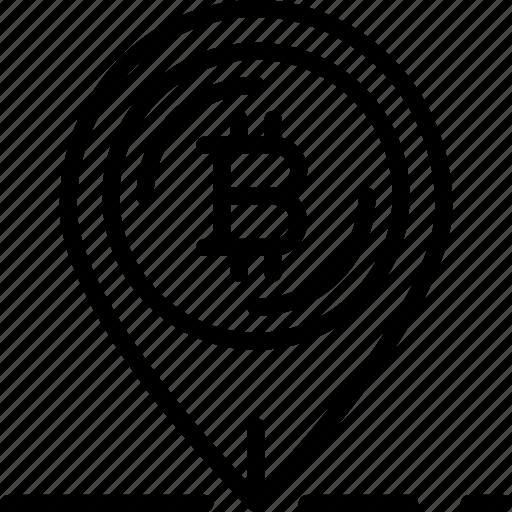 bank, bitcoin, crypto, money, pin, shop icon