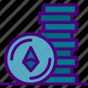 bank, coins, crypto, ethereum, money, shop icon