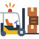 delivery, forklift, package, receive, track icon
