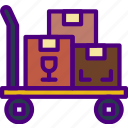 delivery, forklift, manual, package, receive, track icon