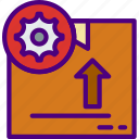 delivery, package, receive, settings, track icon