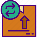 delivery, package, receive, return, track icon