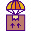 airplane, delivery, package, receive, track icon