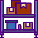 delivery, package, packages, receive, storage, track icon