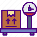 delivery, package, receive, track, weight icon