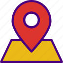 app, essential, interaction, location, mail, pin icon