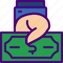 bank, business, dollars, finance, give, money icon
