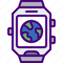 app, clock, interface, smart, watch, world icon