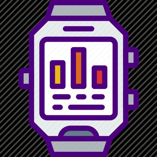 analytics, app, interface, smart, watch icon