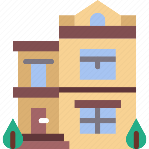 city, house, mansion, street, urban icon