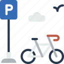 bicycle, city, house, parking, street, urban icon