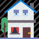 city, house, street, urban icon