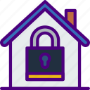 city, house, locked, street, urban icon