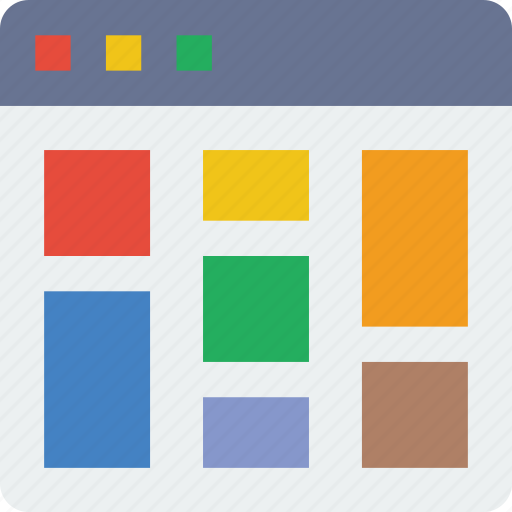 browser, grid, interaction, interface, internet, masonry, user icon