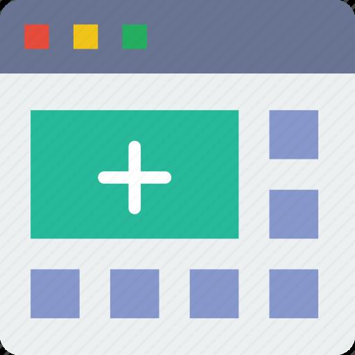 add, browser, interaction, interface, internet, segment, user icon