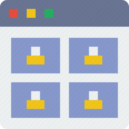 browser, grid, interaction, interface, internet, product, user icon