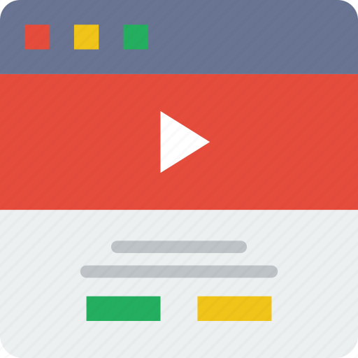 browser, content, interaction, interface, internet, user, video icon